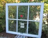32 x 27 Vintage Window sash old 6 pane from 1950s Arts& Crafts
