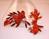 Vintage Brooch and earrings set ruby red rhinestones