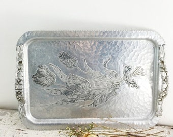 Christmas in July Large Vintage Hammered Aluminum Tray with Tulips