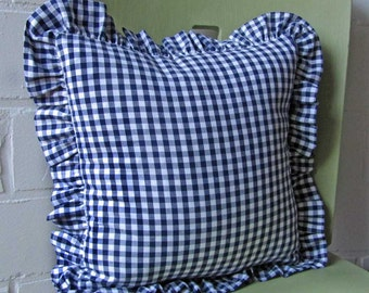 Blue checkered ruffle pillow