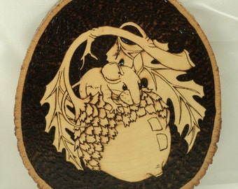 Woodburned Tree Slice Mouse and Acorn Rustic Wall Art