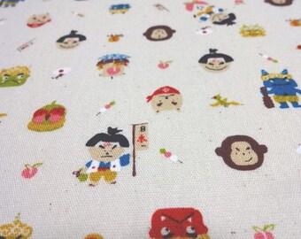 Japanese Traditional Fabric Old Tale Momotaro Ecru Fat Quarter