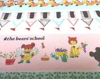 SALE Japanese Fabric Bear's School Stripe 1/2yard S6-8