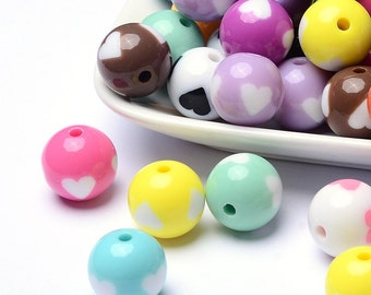 Large Acrylic Beads Bubblegum Beads 16mm Big Beads Wholesale Beads Assorted BULK Beads Heart Beads 20 pieces