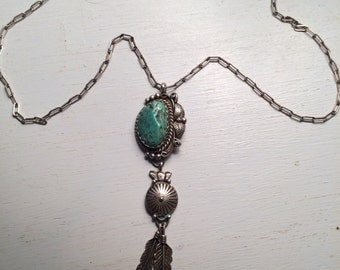 Vintage Navajo Sterling Turquoise Nugget Feather Concho Necklace Native American