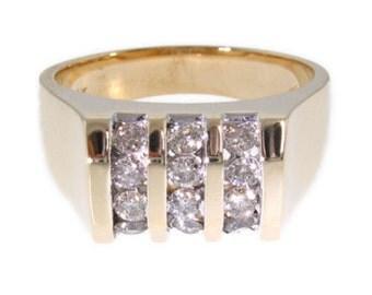 Mens Genuine Diamond Ring 14K Yellow Gold Classic