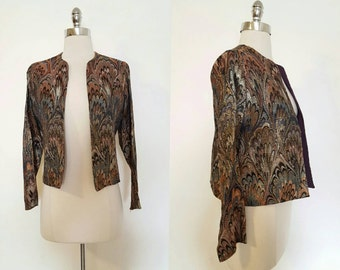 1960s Vintage Women's Metallic Paisley Print Jacket Size Medium