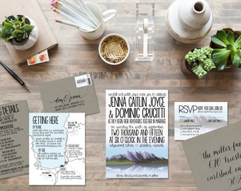 Custom Rustic Lake and Mountatin Wedding Invitation Suite