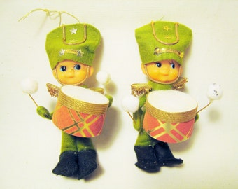 Lot of 2 Vintage Little Drummer Boys Christmas Ornaments - Mid Century Xmas Decorations / Lime Green Made in Japan Pixie Elf Look