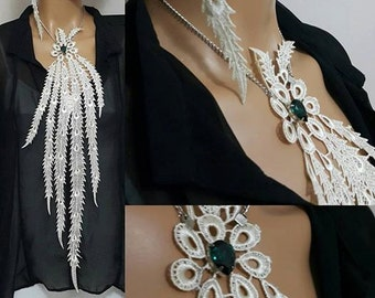 Unique Long Tassel Lace necklace and Earring/ BOHO Body  jewelry Shoulder Jewelry / Unique design necklace