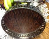 Vintage Faux Wood Grain Silverplate Basketwave Bar/Condiment Tray