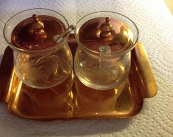 Vintage Cavalier Copperware Condiment Serving Set