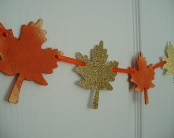 Fall Banner, Painted Wooden and Glitter Cardstock Leaves Banner, Thanksgiving Decoration, Fall, Autumn Garland, Orange, Gold