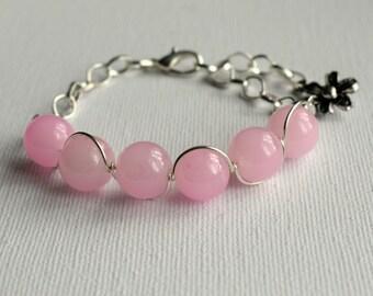 Pale Pink Beaded Bracelet, Baby Pink Bracelet, Pastel Pink Bracelet, Summer Jewellery, Pastel Beaded Bracelet, Adjustable Bracelet