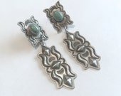 Navajo Sterling Silver & Green Turquoise Ornate Dangle Earrings