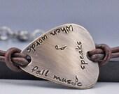Guitar Pick Bracelet Leather Bracelet Personalized Bracelet Mens Bracelet  Custom Guitar Pick Hand Stamped Jewelry