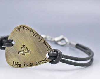 Personalized Guitar Pick Bracelet Double Sided Hand Stamped Guitar Pick Bracelet Hand Stamped Leather Bracelet Hand Stamped Jewelry