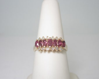 14K Solid Gold .68 ctw Natural Crimson Red RUBY & DIAMOND RING Size 6.5 R923