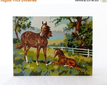 ON SALE Vintage, Equestrian, Paint By Numbers, Horse, Foal,  Art, Wall Hanging, Tree, Landscape, Painting, Blue, Green, Quarter Horse, Horse