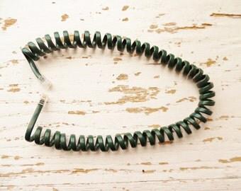 "Forest green vintage 17"" spiral telephone cord - modular landline handset phone"