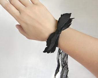Leather Wrist Cuff Bow Bracelet, Black Leather Jewelry, Leather Bow, Leaf Cuff Bracelet, Leather Leaf, Arm Cuff, Wrist Band, Leaf Jewelry