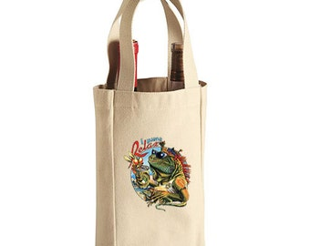 Iguana Relax New Double Bottle Wine Tote Bag Gifts Events Parties Pub Bar