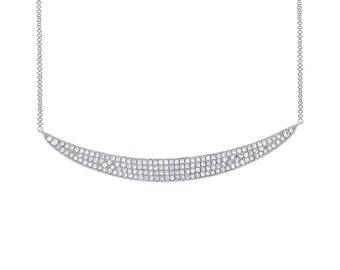 14k White Gold Diamond Pave Crescent Necklace
