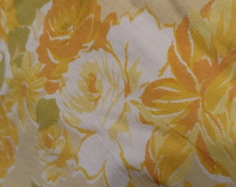 Full Flat Yellow Floral Print Sheets All Cotton