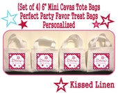 """Personalized Girl Pink Star Birthday Party Favor Bags Pinks Aqua Stars Treat Gift Bags Mini 6"""" White Canvas Totes Kids Party Bags Set of 4"""