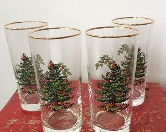 Spode Christmas Tree Drinking Glasses, High Ball, Christmas Drinkware