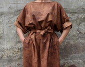Brown Leather Maxi dress, Midi dress, Fall Winter dress, Plus size dress, Caftan, Party Dress, Oversized dress,   Casual dress