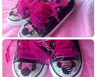 Minnie Mouse Crystal Rhinestone Converse Shoes - Minnie Mouse Birthday - Minnie Mouse Party Outfit - Minnie Mouse Costume - Birthday Shoes