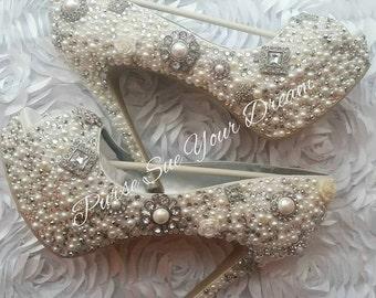 Custom Vintage Inspired Heels - Swarovski Crystal Heels - Pearls and Rhinestone Heel Shoes - Wedding Bridal Shoes