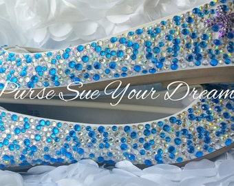 Custom Swarovski Crystal Rhinestone Ballet Flat Shoes - Wedding Shoes - Wedding Flats Shoes - Wedding Party Bridal Flats - Nautical Wedding