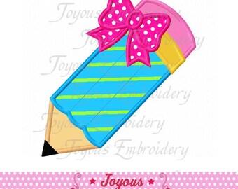 Pencil With Bow Applique Machine Embroidery Design NO:2143