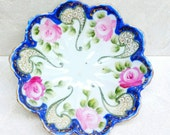 Nippon Bowl With Floral Pink Roses Gold Scrolls Footed and Scalloped With Moriage Noritake