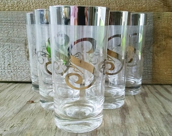 Silver Monogramed Highballs Drink Ware Dorothy Thorpe Tumblers Letter S  Set of 6