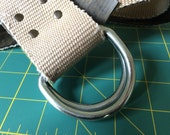 Recycled fire hose D-ring belt