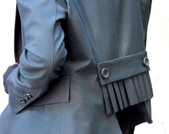 New Black  Stylish Blazer / New Autumn Coat /Black Cold Wool coat/Extravagant Asymmetrical Buttoned Blazer by Aakasha A10311