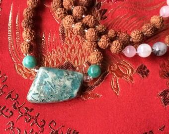 Healing Mala Beads, Rudraksha Bead Mala, Amazonite Crystal Mala, Prayer Beads, Mantra Beads, Yoga Jewelry, Meditation Tool