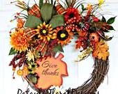 Fall Sunflower Wreath, Thanksgiving Wreath, Give Thanks Wreath, Autumn Wreath, Fall Door Wreath, Outdoor Wreaths, Fall Decoration