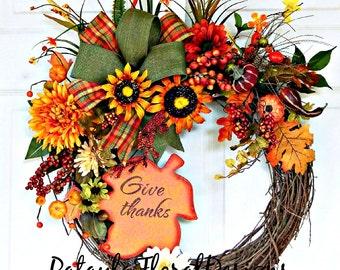 Fall Wreath, Autumn Wreath, Fall Door Wreath, Outdoor Wreaths, Thanksgiving Wreath, Autumn Decoration, Sunflower Wreath, Wreath w Pumpkins