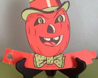 Vintage Halloween Beistle 1950s Pumpkin Head Die Cut Creepy Jack O Lantern Man Halloween Decor Display Collectible Stand Up