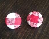 Red Gingham Plaid Earrings