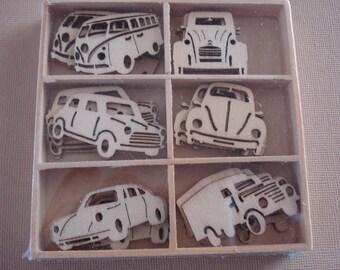 Wood Die Cuts - Laser Cut -   Classic Cars - Embellishments - Wooden Box - 30 pcs