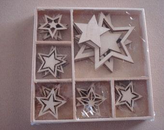 Wood Die Cuts - Laser Cut - Vintage Christmas 5 point star - Embellishments - Wooden Box - 30 pcs