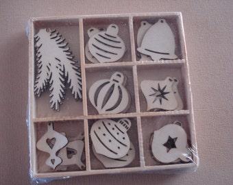 Wood Die Cuts - Laser Cut -  Christmas balls- Embellishments - Wooden Box - 40 pcs