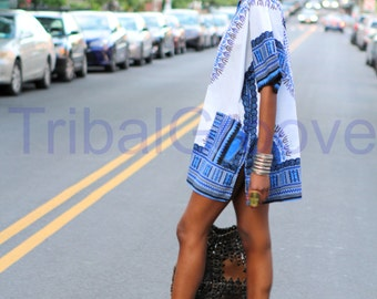 Unisex Dashiki White and Blue African Shirt Dress - Kings and Queens