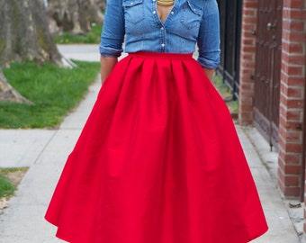 Wide Voluminous Midi- Skirt  - LOVE