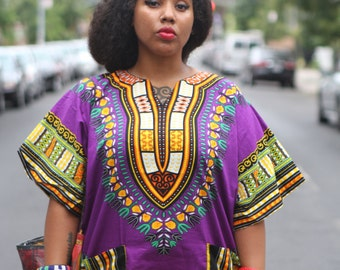 Unisex Dashiki Purple African Shirt Dress - Kings and Queens